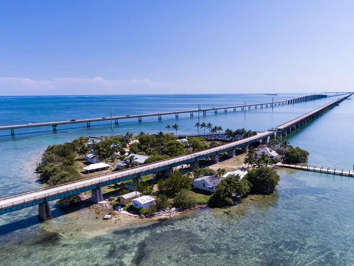 An aerial view of Pigeon Key island in the Florida Keys